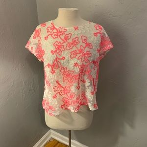 Anthropolgie cherry blossom mesh top pink size M